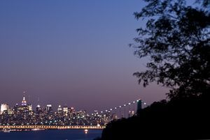 George Washington Suspension Bridge and Manhattan Skyline
