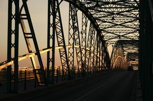Truss Bridge in Sunset